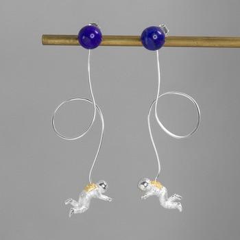 INATURE 925 Sterling Silver Lapis Lazuli Space Astronaut Long Tassel Drop Earrings for Women Fashion Jewelry