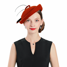 Fedoras Hat Red Fascinator For Women Elegant Church Wool Cap Wedding Fashion Headwear Cocktail Tea Party Prom Hair Clip Girl