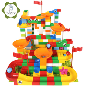 Image 1 - 88 352 PCS Blocks Marble Race Run Maze Ball Track Building Blocks Plastic Funnel Slide Assemble Bricks Compatible For kids Gift