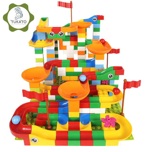 88 352 PCS Blocks Marble Race Run Maze Ball Track Building Blocks Plastic Funnel Slide Assemble Bricks Compatible For kids Gift