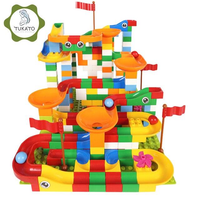 88 352 PCS 블록 대리석 레이스 실행 미로 공 트랙 빌딩 블록 플라스틱 깔때기 슬라이드 조립 벽돌 아이들을위한 호환 선물