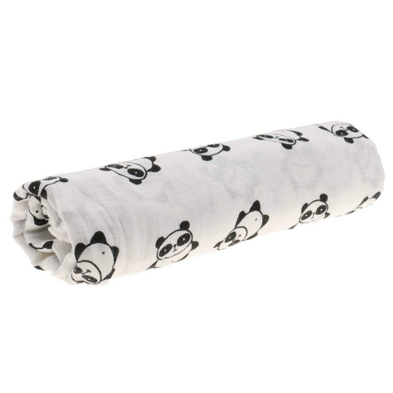 Cotton Lange New Born Swaddle Blanket Sleeping Bag 110 Cm X 110 Cm - Panda