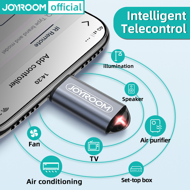 Joyroom أجهزة الأشعة تحت الحمراء اللاسلكية الأشعة تحت الحمراء للتحكم عن بعد محول المحمول الأشعة تحت الحمراء الهاتف الارسال آيفون/مايكرو USB/Type C