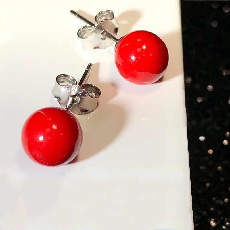 Perak 925 Perhiasan Perak Anting-Anting untuk Wanita Merah Alami Corallite Anting-Anting Pesta Pertunangan Pernikahan Populer Telinga Perak