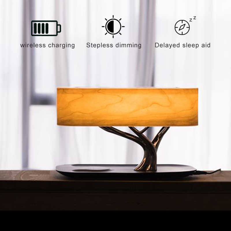 Modern led table lamp for bedroom dimmable bluetooth Speaker phone Charger  wireless desk lamp bedside lamp table light tree lamp|LED Table Lamps| -  AliExpress