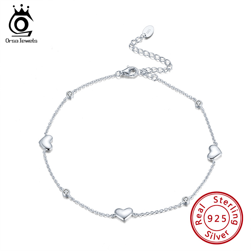 ORSA JEWELS Real 925 Sterling Silver Anklet for Women Heart Charms AAAA Zirconia Female Summer Vacation Ankle Accessories SA01