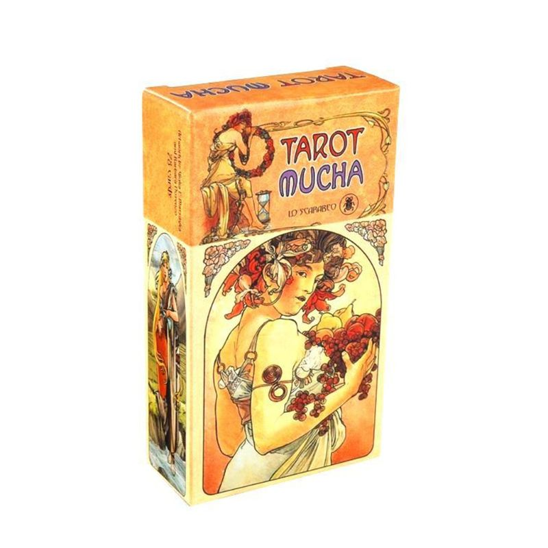 78pcs English Tarot Mucha Cards Deck Fate Divination Oracle Card Funny Family Board Game Party Game Playing Card