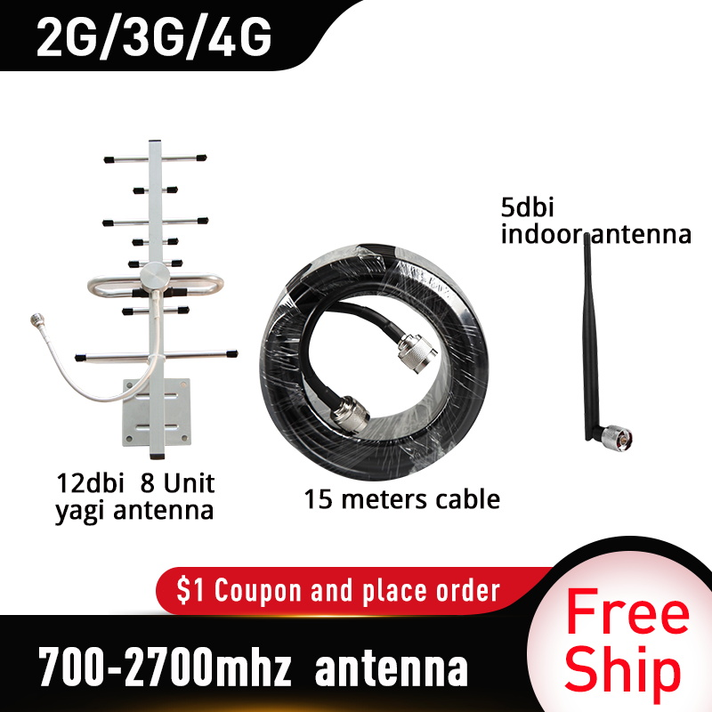 Outside Yagi Antenna CDMA UMTS GSM LTE DCS 700-2700mhz 12dBi Gain For Cell Phone Booster Repeater 700~2700mhz Whip Antenna