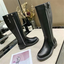 high shoes Women's to knee, low heels, women's boots in winter, scars in autumn,