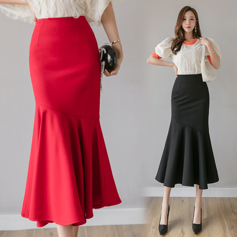 Office Lady Package Hip Sexy Skirt Korean Style Women High Waist Long Mermaid Skirts Black,Red Saia S-XXXL