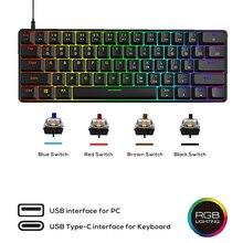 В наличии/Skyloong GK61 SK61 механическая клавиатура на русском 61 Ключ USB Проводная RGB подсветкой Gateron переключатель/G/B для портативных ПК игры