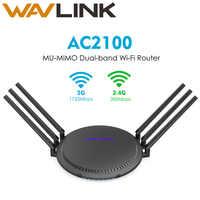 Wavlink AC2100 Gigabit Wireless Dual-Band Wi-Fi Router Smart Touchlink MU-MIMO Range Extender 5GHz 1733Mbps 6x5dBi di alta antenne