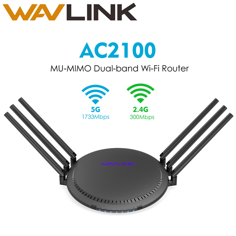 Wavlink AC2100 Wireless Gigabit Dual-Band Wi-Fi Router Smart Touchlink MU-MIMO Range Extender 5GHz 1733Mbps 6x5dBi High Antennas