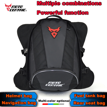 2020 New Motorcycle Helmet Backpack Motocross Saddle Bag Transport Magnetive Oil Fuel Bags Red/Black Rear Tail Bag Alforjas Moto