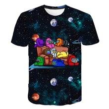 Футболка с короткими рукавами для мальчиков и девочек, 3D мультяшный рисунок среди нас, летняя одежда с принтом среди нас, космическая игра
