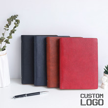 цена на 1pc A5 6-hole Loose-leaf Business Notebook Laser Custom Logo Leather Notepad Personalized Svhool Office Gift Notebook 100 Sheets