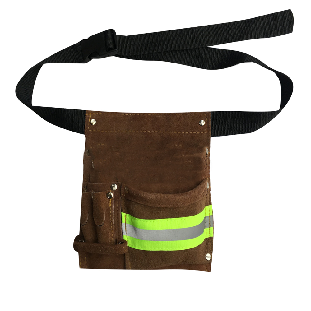 Reflective Cowhide Wear Resistant Waist Bag Hardware Screwdriver Electric Welding Tool Bags With Belt Multi Pocket Toolkit