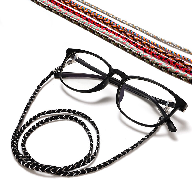 Liroyal Delicate Outdoor Sport Leather Braided Sunglasses Eyeglass Spectacles Chain Black