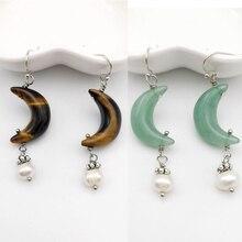 Natural Stone Moon shape Earrings Pink Quartz Tiger Eye Crystal Shell pearl earrings Simple Ear Jewelry for Women Earring Gift