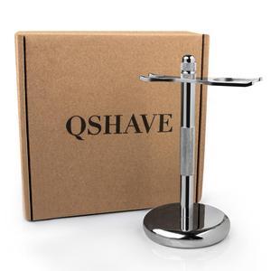 Image 5 - Qshave klasik güvenlik jilet ile % 100% saf porsuk saç tıraş fırçası için standı tutucu ile çift kenarlı tıraş bıçağı