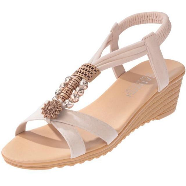 Summer BOHO Women Sandals Wedges Low Heel Peep Toe Hollow Platform Ethnic Casual Vacation Beach Ladies Shoes Zapatos De Mujer Uncategorized Ladies Shoes Women's Fashion