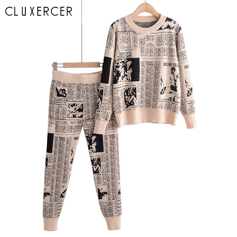 Autumn Winter Knitted Tracksuit Women Knit Casual Printing Pullovers Sweater + Harem Pants Two Piece Set Female Outfits Mujer