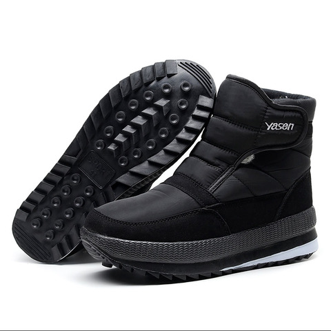 SNOW SHOES  Men Boots Winter with Fur 2019 Warm Snow Boots Men Winter Work Casual Shoes Sneakers High Top Rubber Ankle Boots Karachi