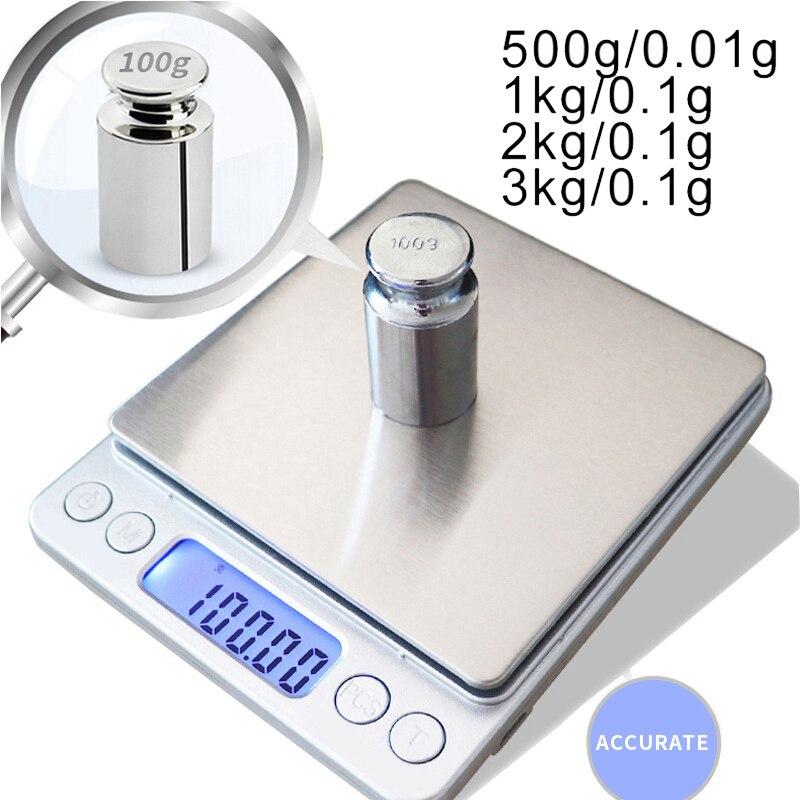 Точные цифровые ЖК-весы 0,01/0,1 г, электронные мини-весы 500 г/1/2/3 кг, точные весы для чая, весы для взвешивания