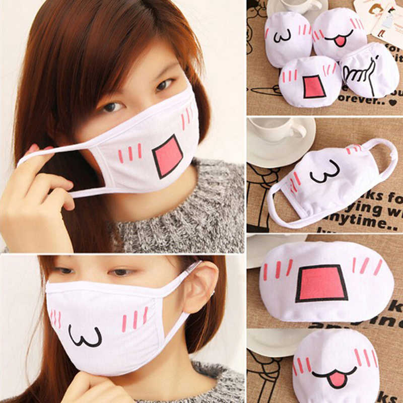 2020 1 Pcs Leuke Anime Cartoon Mond Moffel Gezichtsmasker Emotiction Masque Kpop Maskers Vrouwen Mannen Wit Anti-Dust katoen Mond Masker