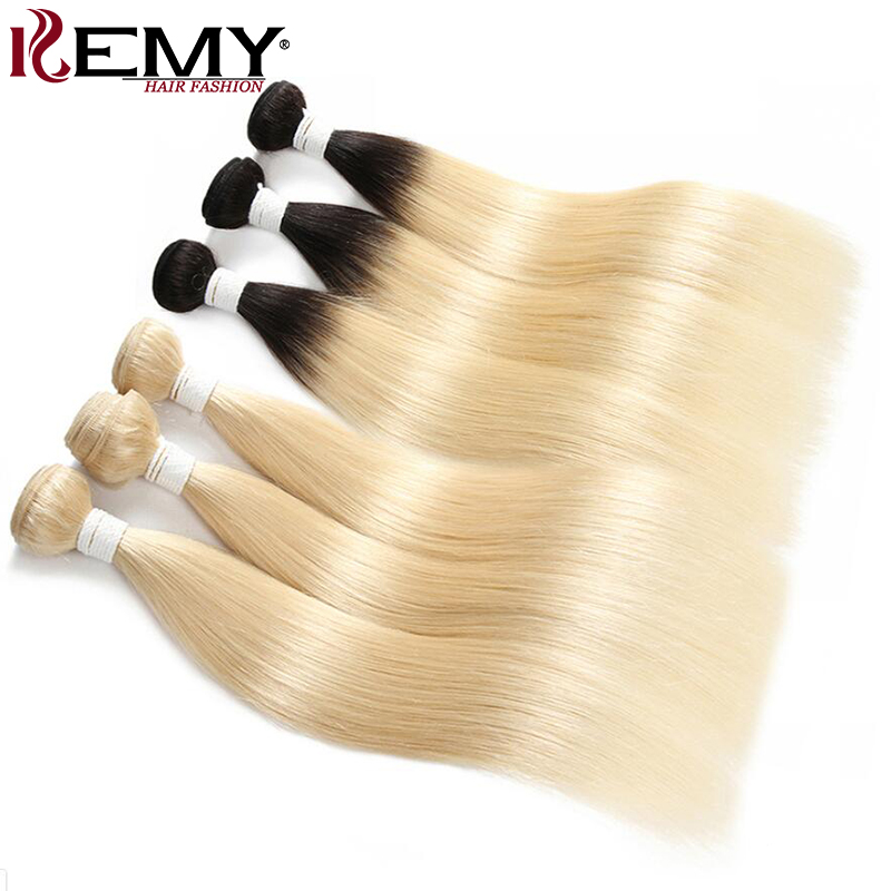 613 Blonde Human Hair Bundles KEMY HAIR 8 To 26 Inch Brazilian Straight Human Hair Weave Bundles Non-Remy Hair Extensions 1PC
