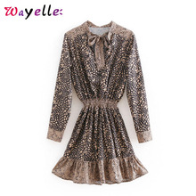 Party Dress Leopard Print Ruffles Mini Bow Tie Neck Elegant Women 2019 Long Sleeve Vintage Elastic Waist