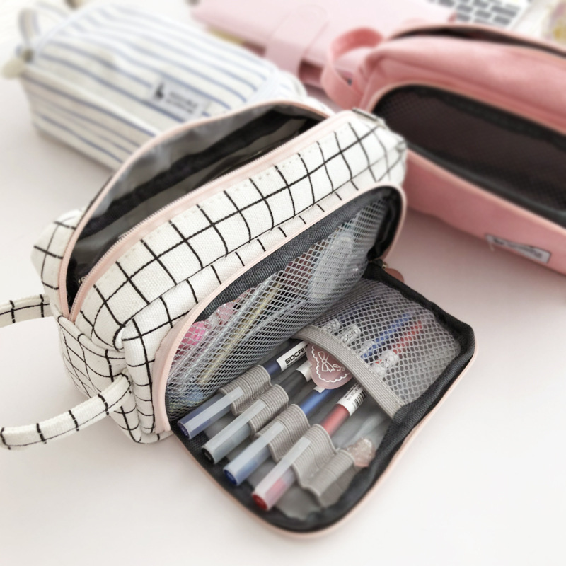 Canvas Large Capacity Pencil Case Kawaii Pencil Pouch Supplies Pen Case Student School Office Stationery