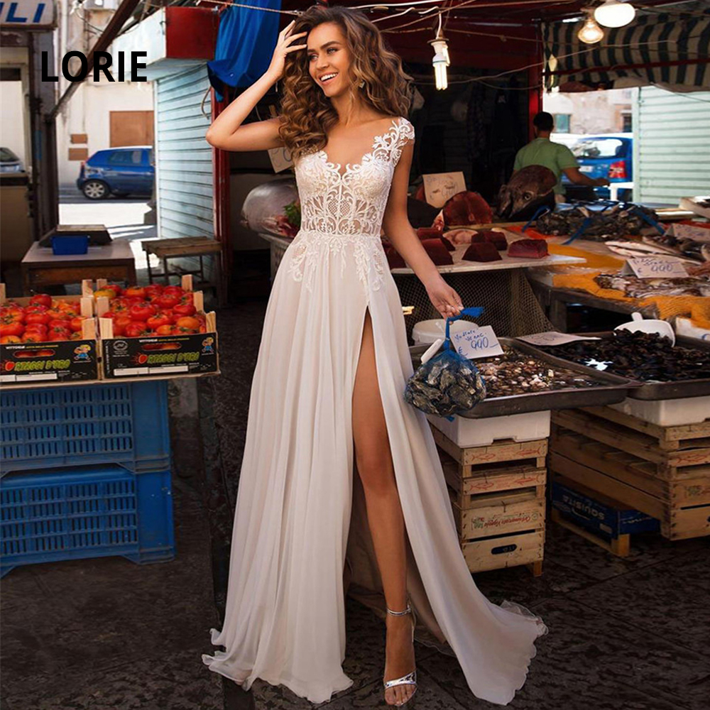 LORIE Cap Sleeve Beach Wedding Dresses Lace 2020 Simple Chiffon Bridal Gowns Boho A-line Princess Party Dress With Split