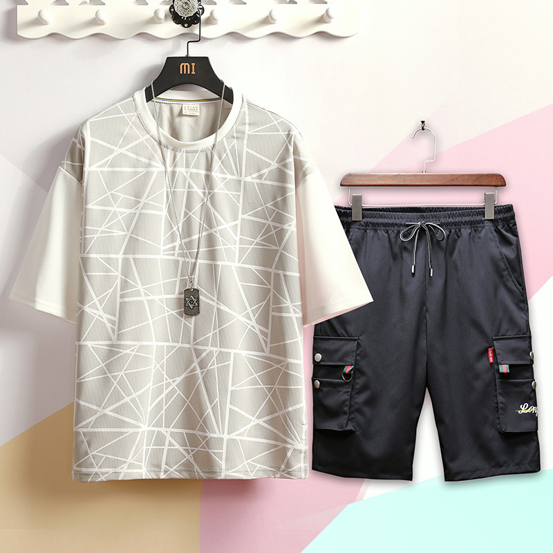 2019 Summer New Style Japanese-style Casual Printed Large Size Short-sleeved Round Collar T-shirt Short Bib Overall Set Men's Tz