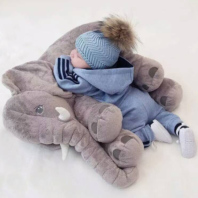 40*33cm Baby Soft Plush Elephant Sleep Pillow Calm Doll Toys Sleep Bed Lumbar Seat Cushion Kids Portable Bedroom Bedding Stuffed