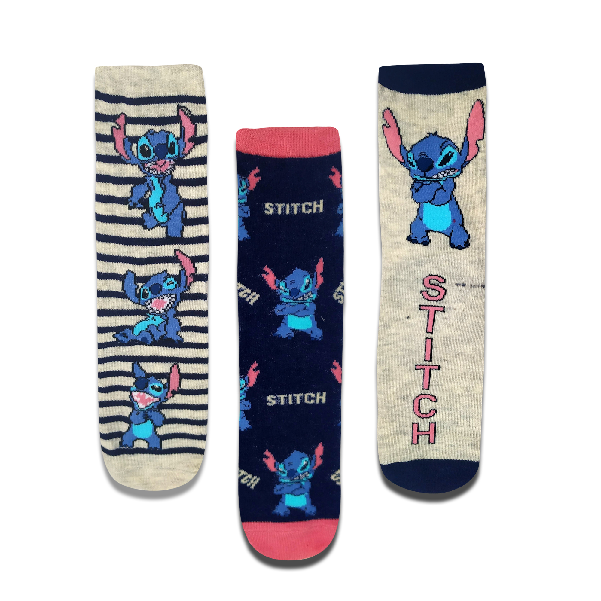 Cartoon Character Mens Fashion Crew Socks Kawaii Stitch Pattern Happy Colorful Socks Personality Funny Anime Socks