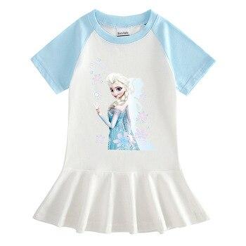 Frozen Cartoon Cotton Summer Dress Anna Elsa Princess Pattern Baby Girl Fashion Pleated