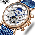 Мужские часы LIGE  брендовые Роскошные модные автоматические механические часы с турбийоном  мужские часы из нержавеющей стали  Relogio Masculino  2019