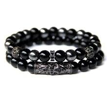 Vinswet 2pcs Bead Bracelet Men Natural Tiger Eye Hematite Obsidian Beaded Bracelets Homme Energy Stretch Bracelet Men Jewelry