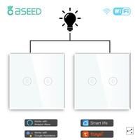 BSEED 2Packs LED Licht Touch Schalter Wifi 2Gang 1/2/3way Smart Wand Schalter Wireless Wifi alexa Schalter Smart Leben Tuya APP Control