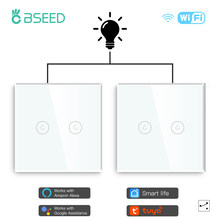 BSEED 2Packs LED Light Touch Switch Wifi 2Gang 1/2/3way Smart Wall Switch Wireless Wifi Alexa Switch Smart Life Tuya APP Control