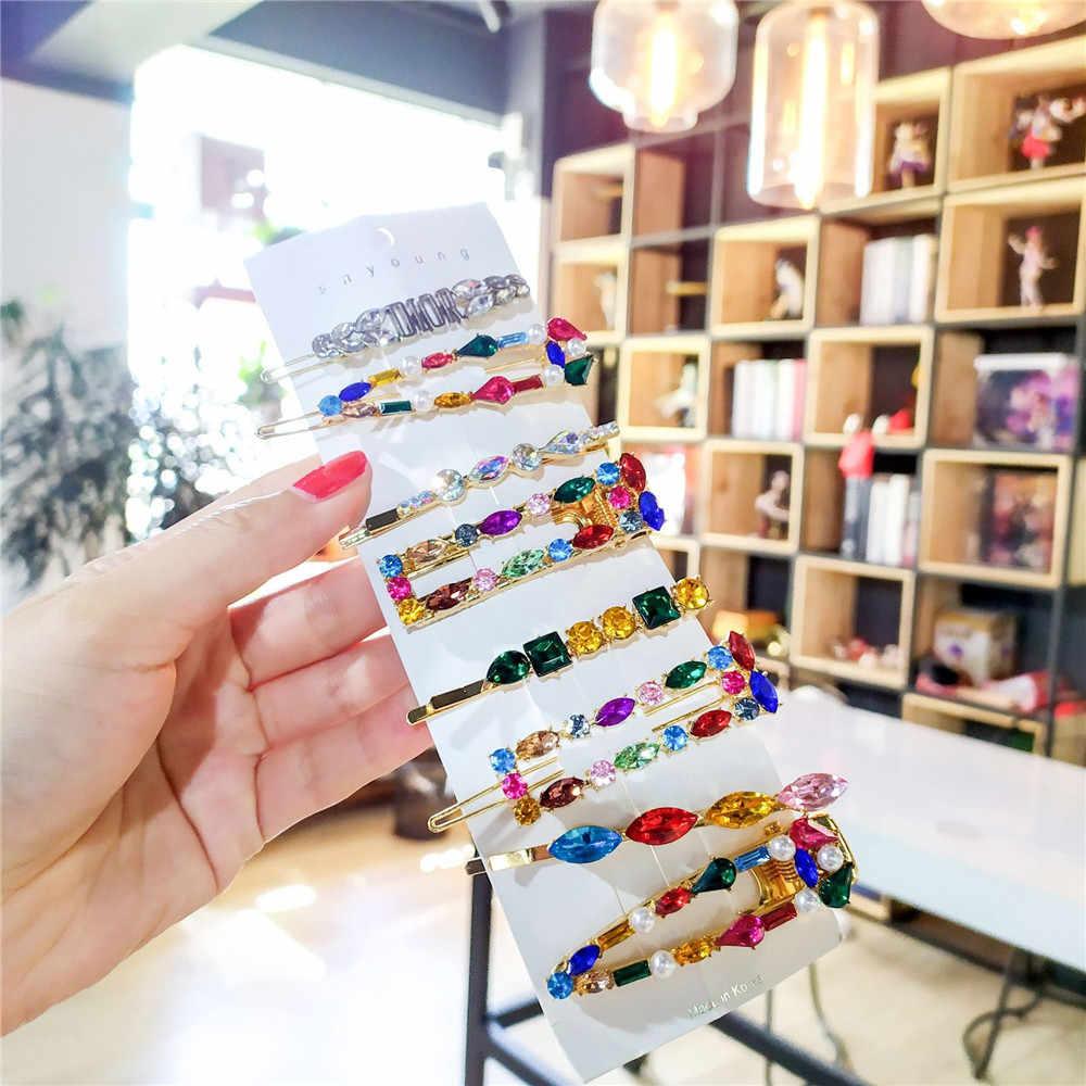 Korea Mengkilap Crystal Jepit Rambut Wanita Geometris Waterdrop Warna-warni Berlian Imitasi Jepit Rambut untuk Anak Perempuan Aksesoris Rambut