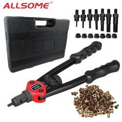 ALLSOME BT-605 Auto ciego remachadora armas Kits Manual mandriles M3 M4 M5 M6 M8 M10 M12 + 300 piezas remache nueces con caja
