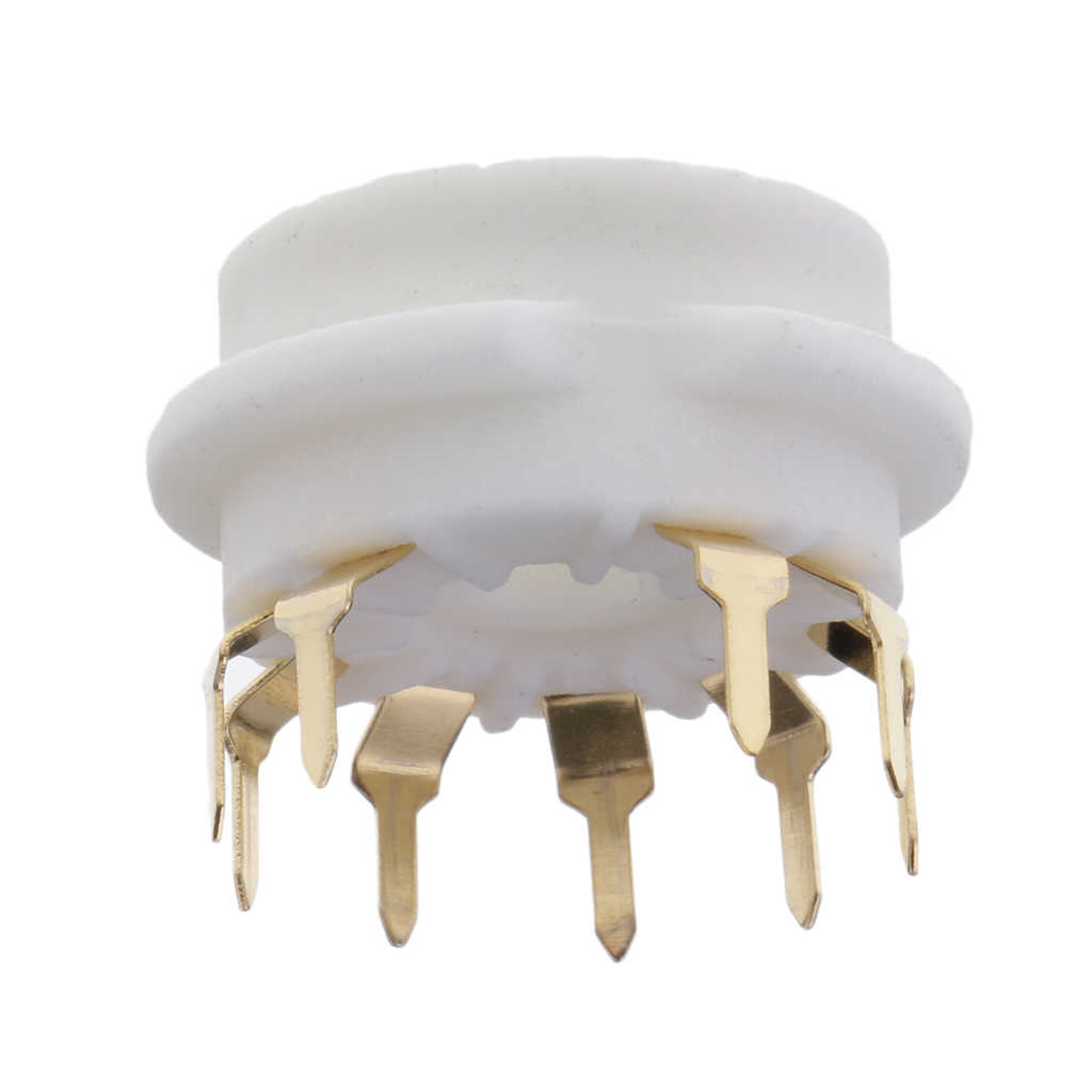 GZC9-B-G 9pin 白のセラミックゴールドメッキ真空管ソケット GZC9-B-G ため 12AX7 、 12AT7 、 12AU7 、 ECC83 、 ECC82 、 E88CC 、 6922 、 6p1