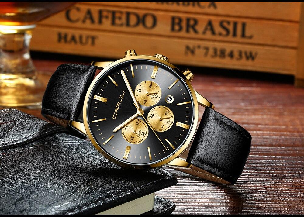 Relojes 2019 aço inoxidável relógio masculino crrju
