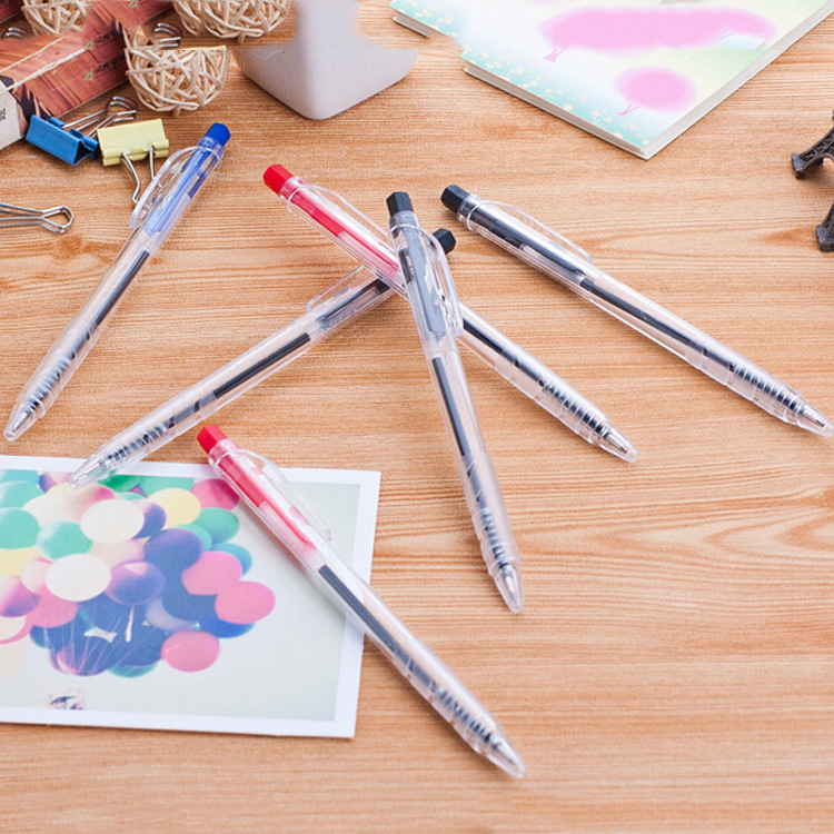 1pc Creative Click Transparent Ballpoint Pen Students Office Signing Black Pen Learning Stationery Wholesale School Supplies