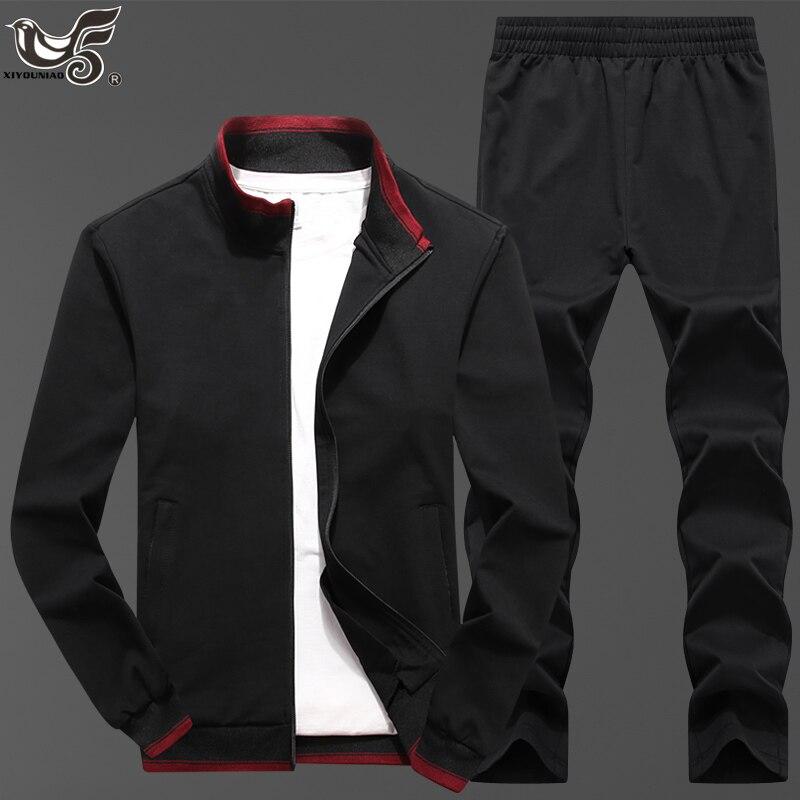 Men's Sportswear Sets Spring Autumn Male Casual Gyms Training Running Tracksuit Men 2 Piece Sweatshirt + Sweatpants Sportsuit