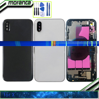 Full Housing for Iphone X Battery Back Cover Door Rear Case Middle Frame Chassis + Baack Glass with Flex Cable Parts Black White