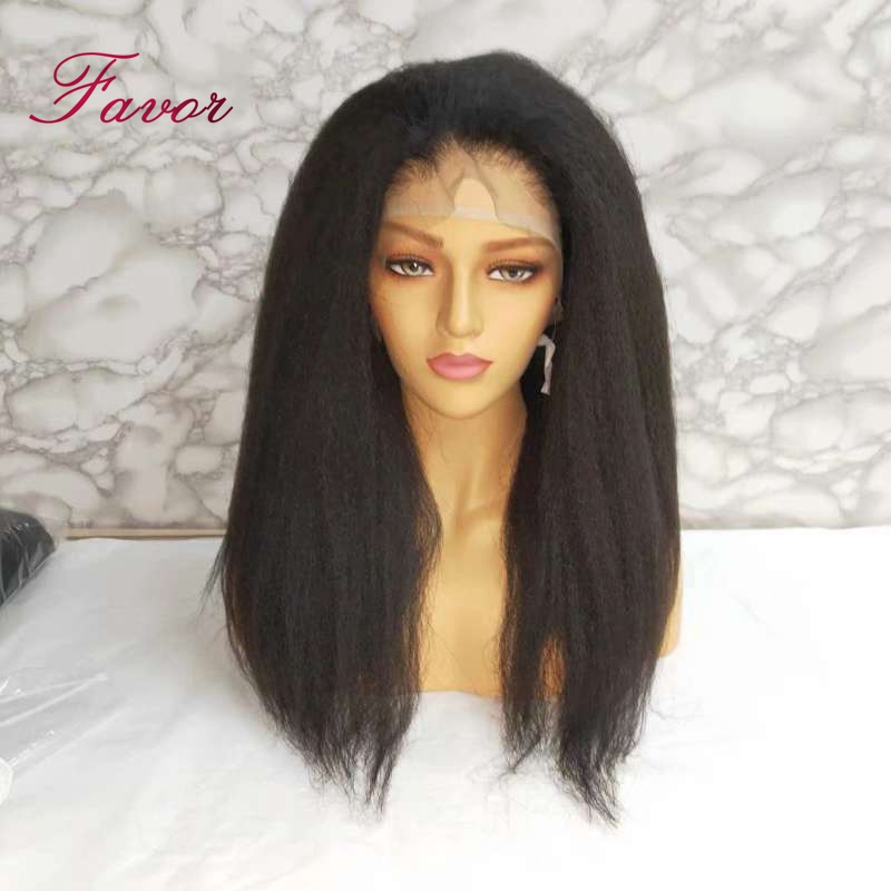 Image 4 - Kinky Straight Lace Front Human Hair Wigs Pre Plucked For Black Women 13x4  Remy Brazilian Yaki Lace Front Human Hair Wigs Favor-in Human Hair Lace Wigs from Hair Extensions & Wigs