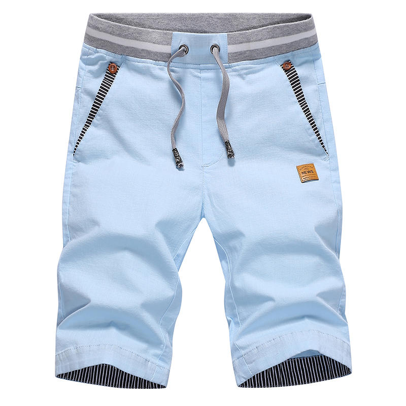 Men's Shorts Breeches Drawstring Bermuda Elastic-Waist Fashion-Style Male Cotton Summer